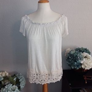 Adiva off white off the shoulder top sz M